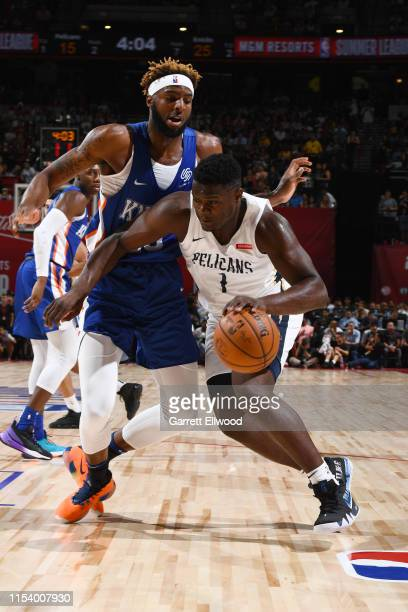 Zion Williamson of the New Orleans Pelicans drives through the paint during the game against Mitchell Robinson of the New York Knicks during Day 1 of...