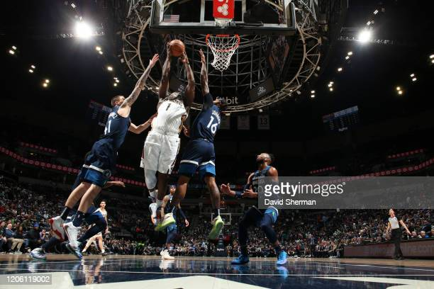 Zion Williamson of the New Orleans Pelicans drives to the basket against the Minnesota Timberwolves on March 8 2020 at Target Center in Minneapolis...
