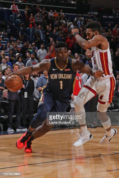 Zion Williamson of the New Orleans Pelicans drives to the basket against the Miami Heat on March 6 2020 at the Smoothie King Center in New Orleans...