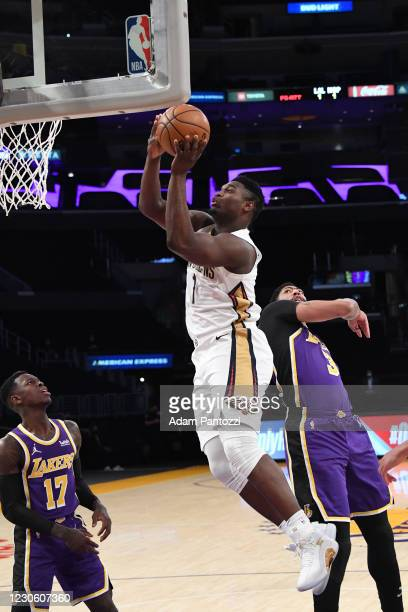 Zion Williamson of the New Orleans Pelicans drives to the basket during the game against the Los Angeles Lakers on January 15, 2021 at STAPLES Center...