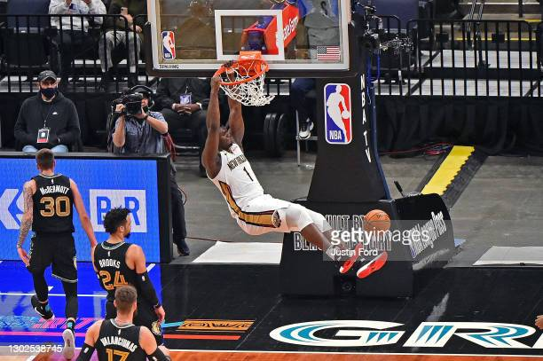 Zion Williamson of the New Orleans Pelicans dunks during the first half against the Memphis Grizzlies at FedExForum on February 16, 2021 in Memphis,...