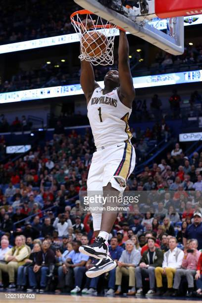 Zion Williamson of the New Orleans Pelicans dunks the ball against the Boston Celtics during the second half at the Smoothie King Center on January...