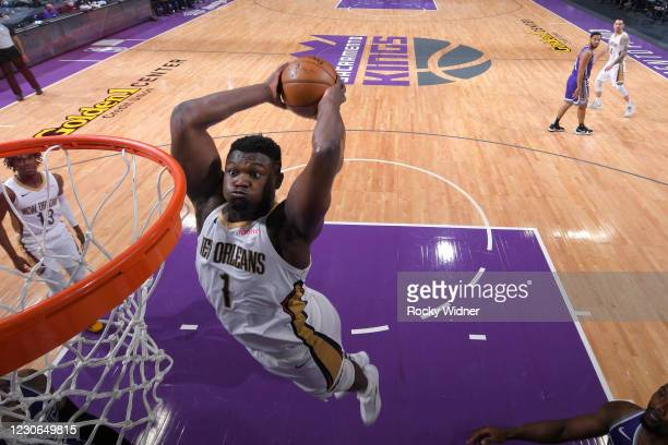 Zion Williamson of the New Orleans Pelicans dunks the ball against the Sacramento Kings on January 17, 2021 at Golden 1 Center in Sacramento,...