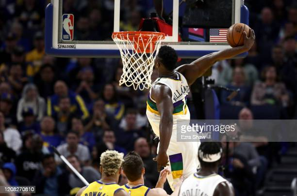 Zion Williamson of the New Orleans Pelicans goes up for a dunk against the Golden State Warriors at Chase Center on February 23, 2020 in San...