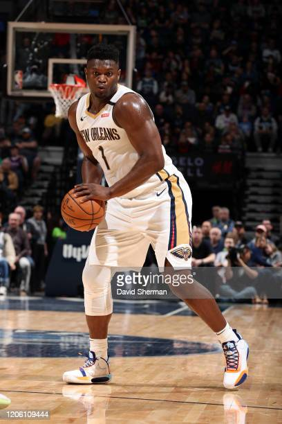 Zion Williamson of the New Orleans Pelicans handles the ball against the Minnesota Timberwolves on March 8 2020 at Target Center in Minneapolis...