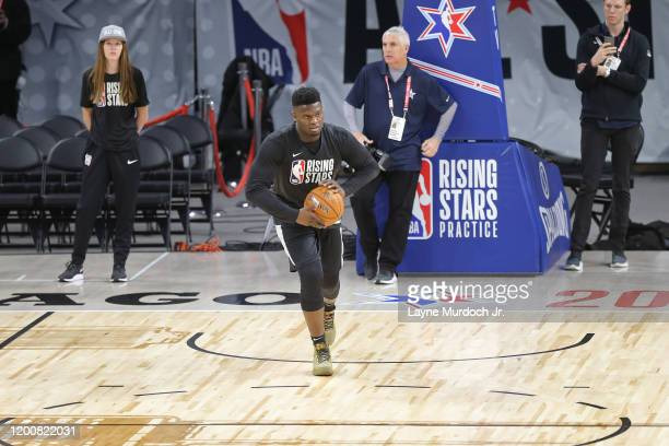 Zion Williamson of the New Orleans Pelicans passes the ball during Rising Stars Media Availability and Practice as part of 2020 NBA AllStar Weekend...