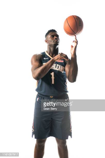 Zion Williamson of the New Orleans Pelicans pose for a portrait during the 2019 NBA Rookie Photo Shoot on August 11, 2019 at Fairleigh Dickinson...