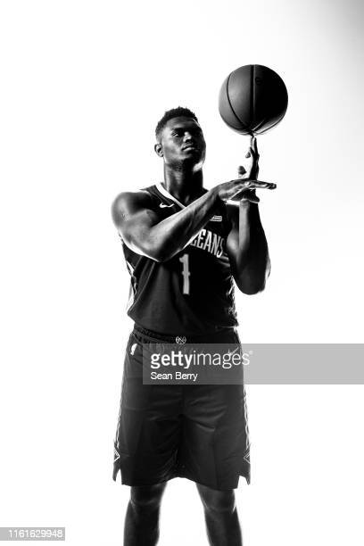 Zion Williamson of the New Orleans Pelicans poses for a portrait during the 2019 NBA Rookie Photo Shoot on August 11, 2019 at Fairleigh Dickinson...