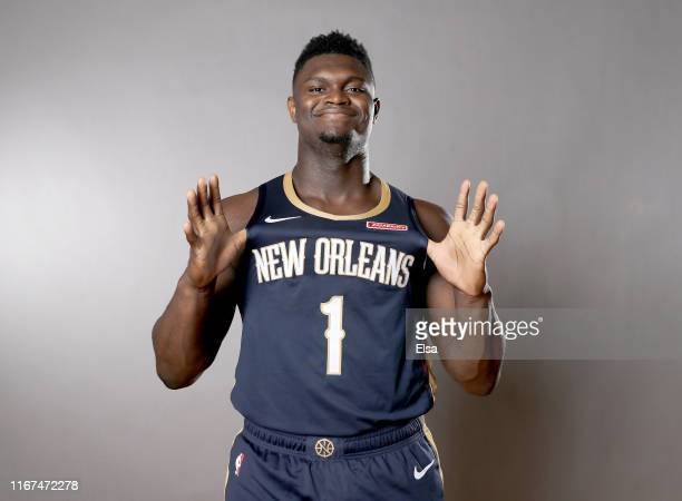 Zion Williamson of the New Orleans Pelicans poses for a portrait during the 2019 NBA Rookie Photo Shoot on August 11, 2019 at the Ferguson Recreation...