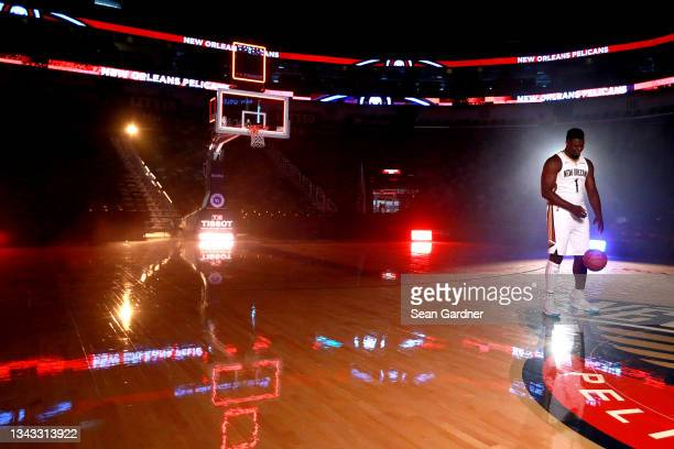 Zion Williamson of the New Orleans Pelicans poses for photos during Media Day at Smoothie King Center on September 27, 2021 in New Orleans,...