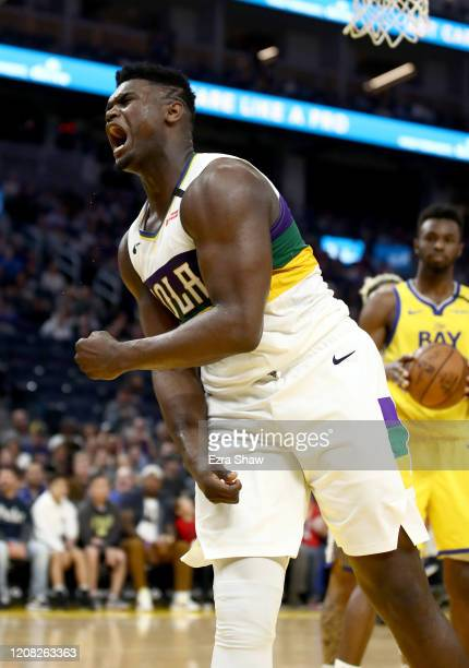 Zion Williamson of the New Orleans Pelicans reacts after he made a basket and was fouled by the Golden State Warriors at Chase Center on February 23,...