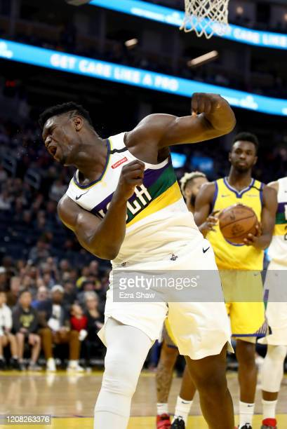 Zion Williamson of the New Orleans Pelicans reacts after he made a basket and was fouled by the Golden State Warriors at Chase Center on February 23...