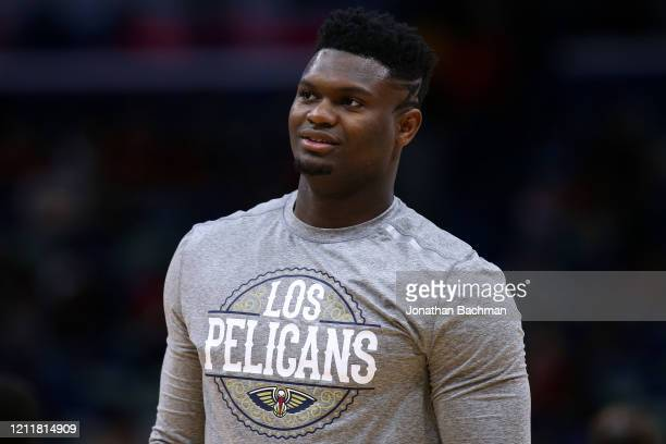 Zion Williamson of the New Orleans Pelicans reacts against the Miami Heat during a game at the Smoothie King Center on March 06 2020 in New Orleans...