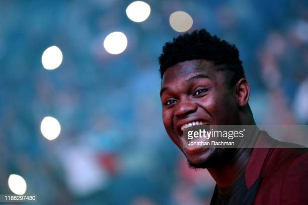 Zion Williamson of the New Orleans Pelicans reacts before a game against the Golden State Warriors at the Smoothie King Center on November 17, 2019...