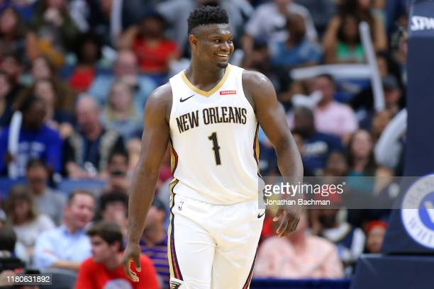 Zion Williamson of the New Orleans Pelicans reacts during a game against the Utah Jazz at the Smoothie King Center on October 11 2019 in New Orleans...