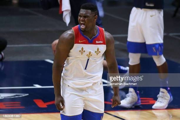 Zion Williamson of the New Orleans Pelicans reacts during the second half against the Boston Celtics at the Smoothie King Center on February 21, 2021...