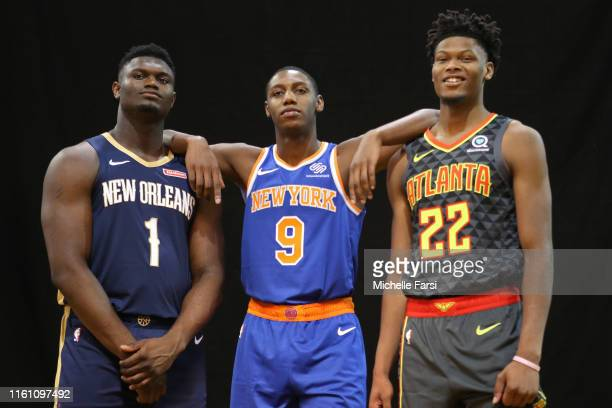 Zion Williamson of the New Orleans Pelicans, RJ BAarrett of the New York Knicks and Cam Reddish of the Atlanta Hawks poses for a portrait during the...