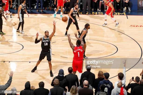 Zion Williamson of the New Orleans Pelicans shoots a 3-point shot against the San Antonio Spurs on January 22, 2020 at Smoothie King Center in New...