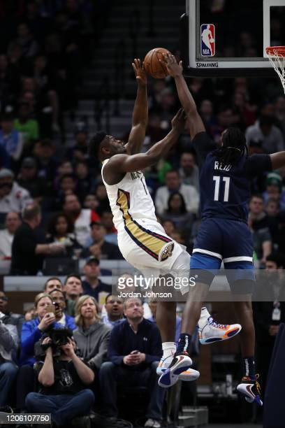 Zion Williamson of the New Orleans Pelicans shoots the ball against the Minnesota Timberwolves on March 8 2020 at Target Center in Minneapolis...