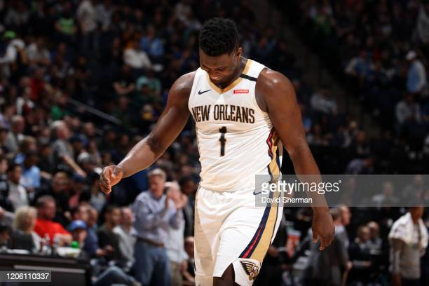 Zion Williamson of the New Orleans Pelicans smiles during the game against the Minnesota Timberwolves on March 8 2020 at Target Center in Minneapolis...