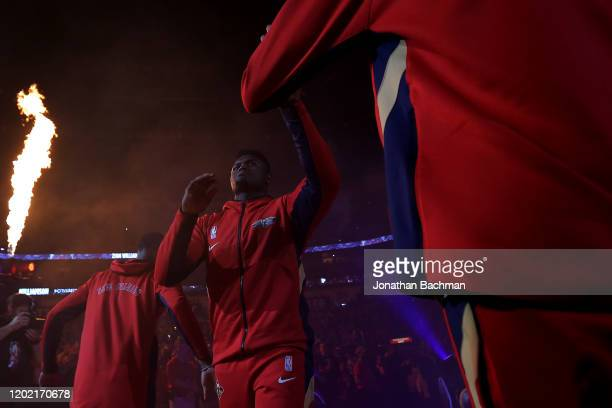 Zion Williamson of the New Orleans Pelicans takes the court before a game against the Boston Celtics at the Smoothie King Center on January 26, 2020...