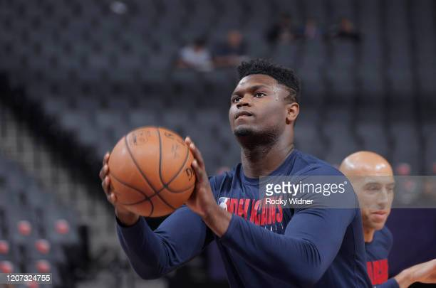 Zion Williamson of the New Orleans Pelicans warms up prior to the game against the Sacramento Kings on March 12 2020 at Golden 1 Center in Sacramento...