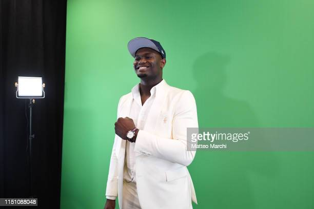 Zion Williamson poses for a photo after being selected number one overall by the New Orleans Pelicans during the 2019 NBA Draft on June 20, 2019 at...