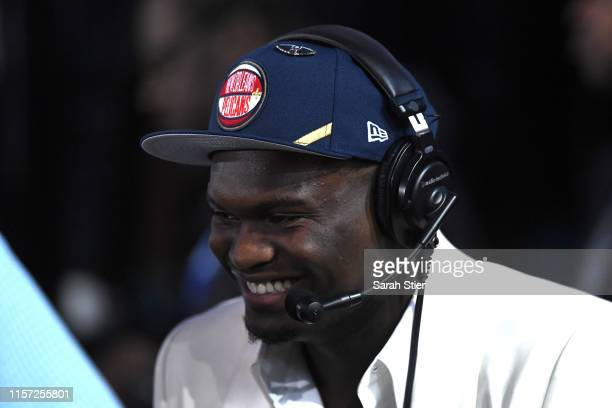 Zion Williamson reacts after being drafted with the first overall pick by the New Orleans Pelicans during the 2019 NBA Draft at the Barclays Center...