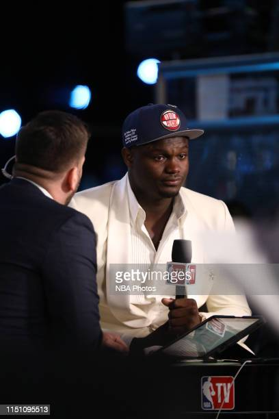 Zion Williamson speaks to the media after being selected first overall by the New Orleans Pelicans during the 2019 NBA Draft on June 20, 2019 at the...