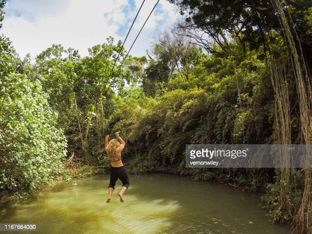 zip lining and dropping into beautiful jungle pools of healing, beautiful water of hawaii - media_in_honolulu,_hawaii stock pictures, royalty-free photos & images