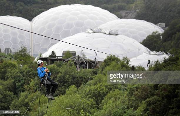 Zip wire instructors try out the SkyWire the new zip wire attraction which opens to the public this week at The Eden Project on July 17 2012 in St...