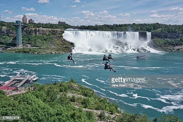 Ziplining by Niagara Falls, a new attraction for thrill seekers, a fun way to experience the natural wonder