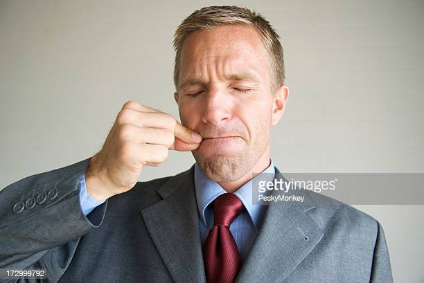 Zipped Mouth Closed Eyes Businessman