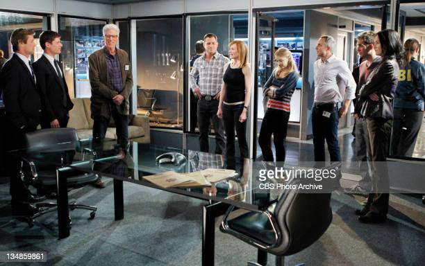 """Zippered"" From left are Agent Viggo McQuid Agent Pratt DB Russell Nick Stokes Catherine Willows Morgan Brody David Hodges Greg Sanders and Sara..."