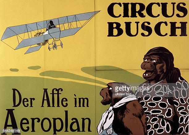 Zirkusplakat für Circus Busch Der Affe im Aeroplan JahrhundertwendeKünstler Adolph Friedländer