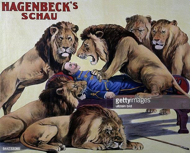 Zirkusplakat für Hagenbecks Schau Dompteur mit Löwen JahrhundertwendeKünstler Adolph Friedländer