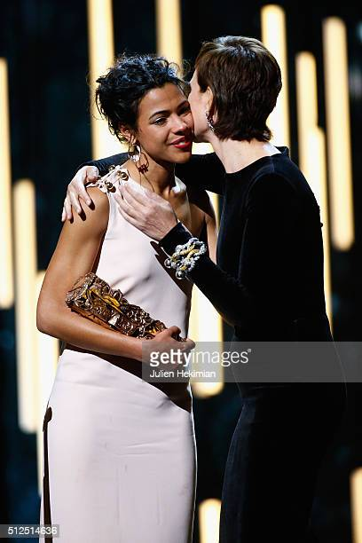 Zita Hanrot receives from Carole Bouquet the cesar for most promising actress for her role in the movie 'Fatima' during The Cesar Film Award 2016 at...