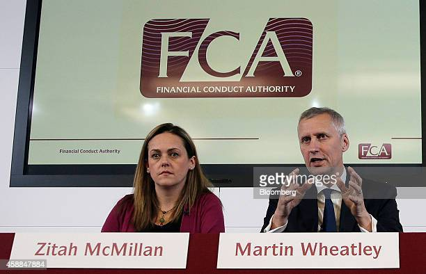 Zitah McMillan director of communications at the UK Financial Conduct Authority left listens as Martin Wheatley chief executive officer of the UK...