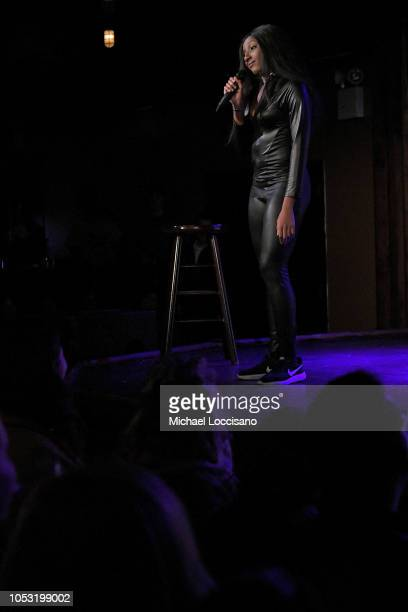 Ziwe Fumudoh performs during the Movement Voter Project comedy benefit at The Bell House on October 24 2018 in the Brooklyn borough of New York City