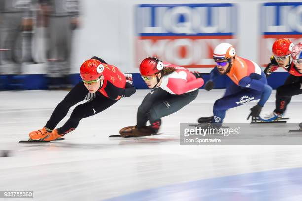Ziwei Ren leads the first lap of the race during the 1000m Semifinals at ISU World Short Track Speed Skating Championships on March 18 at...