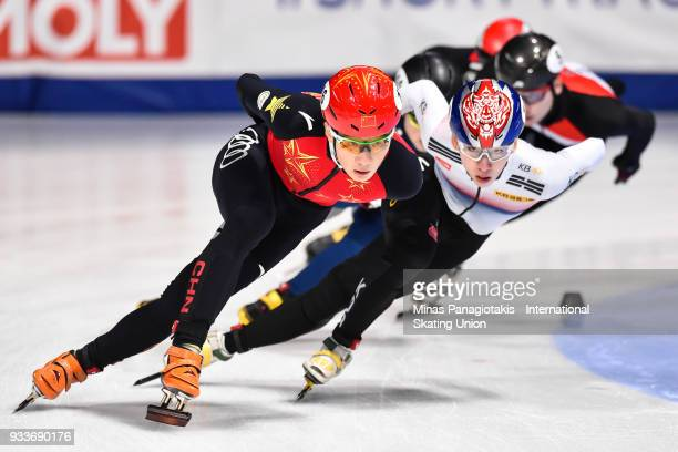 Ziwei Ren of China competes in the men's 1000 meter quarterfinals during the World Short Track Speed Skating Championships at Maurice Richard Arena...
