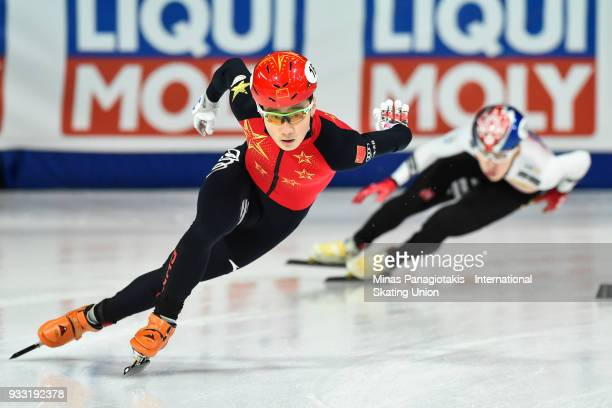 Ziwei Ren of China competes in the men's 500 meter B Final during the World Short Track Speed Skating Championships at Maurice Richard Arena on March...