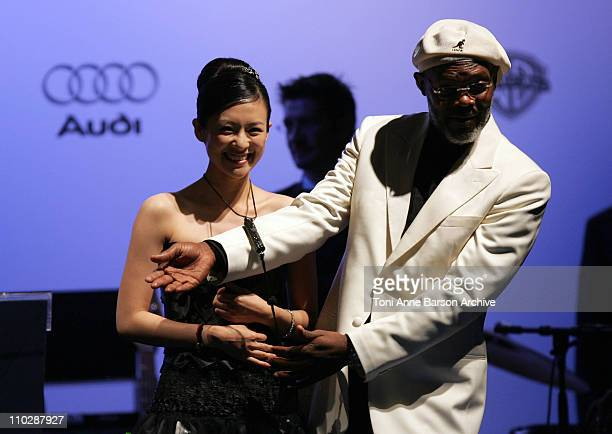 Ziyi Zhang and Samuel L. Jackson during amfAR's Cinema Against AIDS Benefit in Cannes, Presented by Bold Films, Palisades Pictures and The Weinstein...