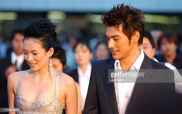 Ziyi Zhang and Takeshi Kaneshiro during 'Lovers' Tokyo Premiere Arrivals at NHK Hall in Tokyo Japan