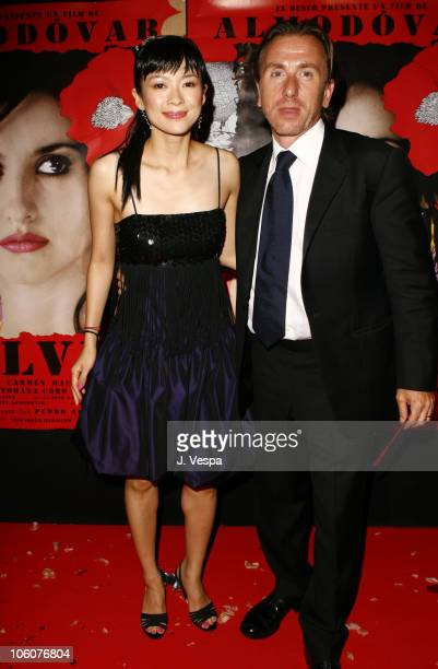 Ziyi Zhang and Tim Roth during 2006 Cannes Film Festival Volver Premiere Dinner at Noga Beach in Cannes France