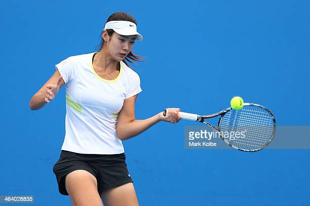 Ziyue Sun of China in action in her first round doubles match with Ying Zhang of China against Kaylah McPhee of Australia and Linda Huang of...