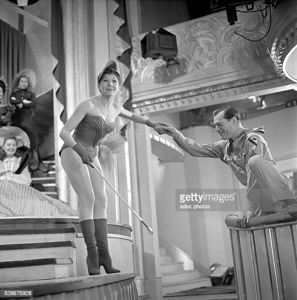 Zizi Jeanmaire French ballet dancer and actress On the shooting of the film FoliesBerg��re directed by Henri Decoin In 1956