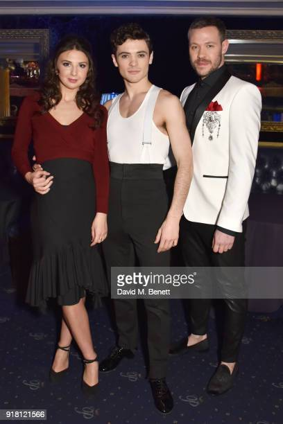 Zizi Strallen Jonny Labey and Will Young pose at a photocall for 'Strictly Ballroom The Musical' at Cafe de Paris on February 14 2018 in London...