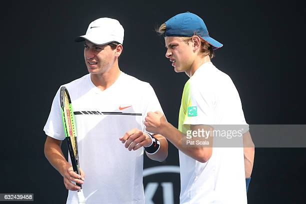 Zizou Bergs and Yshai Oliel compete against Emil Ruusuvuori and Michael Vrbensky in the doubles match during the Australian Open 2017 Junior...
