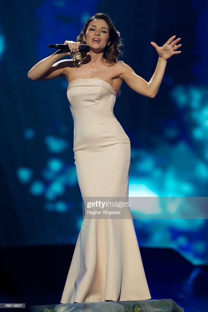 Zlata Ognevich of Ukraine performs on stage during the first semi final of the Eurovision Song Contest 2013 at Malmo Arena on May 14, 2013 in Malmo, Sweden.